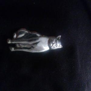 Vintage Sterling Silver Cat Pin Brooch